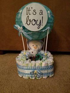 Hot Air Balloon Diaper Cake, Baby Diaper Cake, Baby Shower Centerpiece, New Baby Gift, Diaper Baby C Regalo Baby Shower, Cute Baby Shower Gifts, Baby Shower Gift Basket, Baby Shower Diapers, Baby Shower Parties, Baby Boy Shower, Baby Gifts, Diaper Shower, Diaper Cake Boy