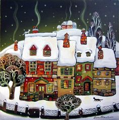 Miguel Freitas ~ The naive memories Christmas Scenes, Christmas Art, Vintage Christmas, Art And Illustration, Tole Painting, Painting & Drawing, Winter Art, Naive Art, Whimsical Art