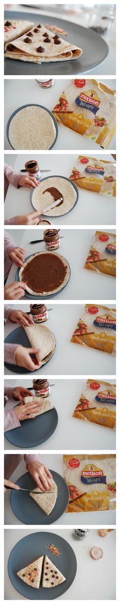 La merienda más fácil del mundo! tortitas para fajitas, nutella y dos minutos al microondas. Esiest snack chocolate recipe for children, it will take less than five minutes.