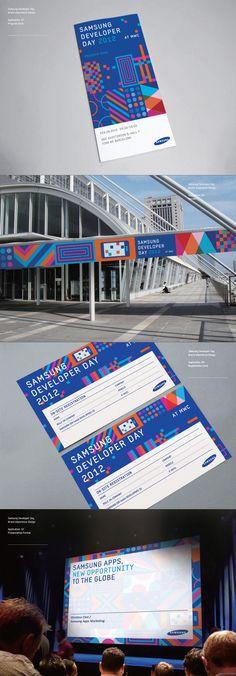 Samsung Developers Brand eXperience Design on Behance branding Event Branding, Spa Branding, Corporate Design, Conference Branding, Design Conference, Leaflet Design, Pamphlet Design, Ticket Design, Promotional Design