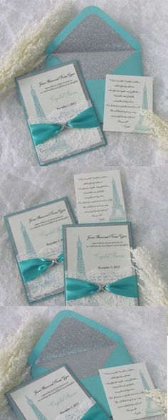Tiffany Blue Glitter Invitations, Sliver Glitter Invitations