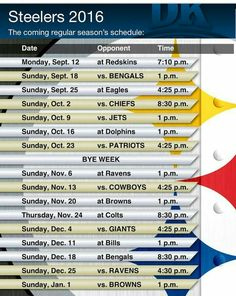 Steeler Schedule 2016