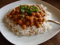 Chickpea Tikka Masala with Cinnamon Brown Rice -- vegan, whole food, plant-based