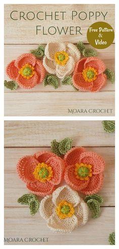 Beau Crochet, Crochet Mignon, Cute Crochet, Crochet Crafts, Crochet Projects, Knit Crochet, Crochet Poppy Free Pattern, Crochet Flower Tutorial, Crochet Flowers