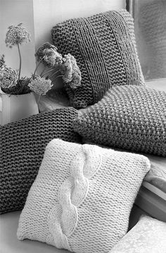"""Chunky Cushion Cover Knit Pillow Cover Wool Pillow Case Decorative Pillow Throw PIllow 16"""" x 16"""" Housewarming Gift Made to Order"""