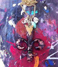 Paris Lampwork Glass Fleur De Lis Necklace with Arrowhead  on Etsy, $40.00