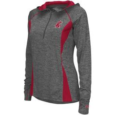 Women's Campus Heritage Washington State Cougars Money Quarter-Zip Top ($44) ❤ liked on Polyvore featuring silver