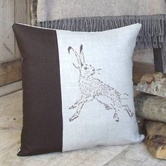 chocolate hare linen cushion by rustic country crafts | notonthehighstreet.com