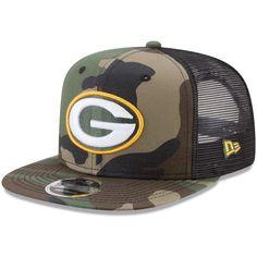 3cf07c77c6c Green Bay Packers New Era Trucker 9FIFTY Snapback Adjustable Hat - Woodland  Camo Black