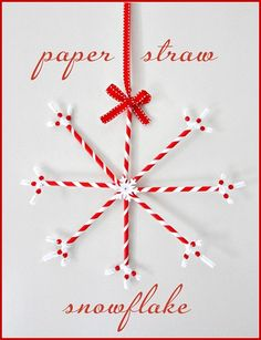 """Paper Straw Snowflake"" I actually own these very paper straws, so I could make this right now if I wanted to!) Ftr, they SUCK to drink from. Straw Crafts, Christmas Projects, Holiday Crafts, Crafts With Straws, All Things Christmas, Winter Christmas, Paper Ornaments, Christmas Ornaments, Christmas Decor"