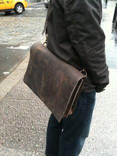 Gansevoort briefcase - gusset lap top portfolio computer hand stitched leather by Aixa Sobin