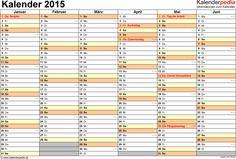 <span class=word-16>Word-Kalender 2015 Vorlage 4: Querformat, 2 Seiten, 1. Halbjahr (Kalender Januar bis Juni 2015) & 2. Halbjahr (Kalender Juli bis Dezember 2015) auf jeweils eigener Seite