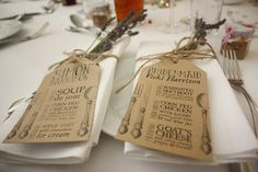 25 x Rustic personalised place name/menu tags  by KnuffelsandLace, £26.00