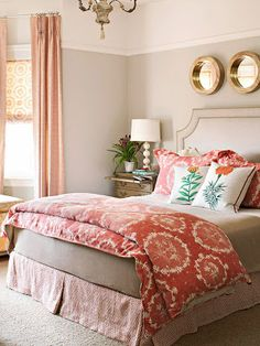 Imagine teal rather than coral accents Simple tips for creating a romantic master bedroom. entirelyeventfulday.com #bedroom