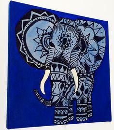 Bohemian Elephant Canvas Painting by NancyCustomCreations on Etsy, $20.00
