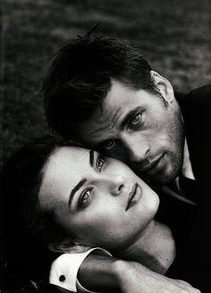 Campaign: Gianni Versace Season: 1996Models: Mark Vanderloo, Shalom HarlowPhotographer: Bruce Weber * http://fashographyscans.com/