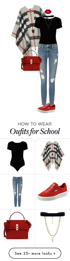 """""""School Girl."""" by ms-ashmarie on Polyvore featuring Burberry, Boohoo, Frame Denim, Puma, Henri Bendel, Vanessa Mooney and Lime Crime"""