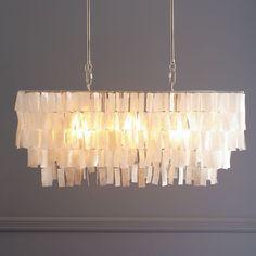 Large Rectangle Hanging Capiz Chandelier - White | west elm
