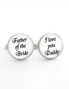 Father of the Bride Gift, I love you Daddy Cufflinks, Wedding Gift from Daughter, Gift for Parents, Wedding Day Gift for Dad from Bride