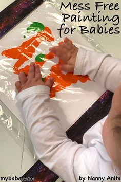 mess free painting for babies and toddlers. An easy craft that produces wonderful pieces of art work. Bonus of an easy clean up. Also great for children who don't like to get messy or may have a sensory processing disorder. Painting Activities, Infant Activities, Activities For Kids, Toddler Crafts, Preschool Crafts, Crafts For Kids, Baby Activity Board, Apple Prints, Baby Painting