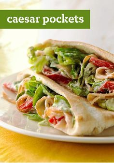 Caesar Pockets – Warm pita bread is the perfect vessel for turkey, Parmesan cheese, roasted red peppers, crisp fresh lettuce, and a splash of Caesar dressing. Buh-bye, boring sandwich and hello top rated lunch idea. Check out the full recipe and leave your own five star review!