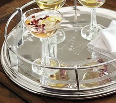 Speakeasy Tray #potterybarn- you can get it monogramed too. would look really great with champagne filled coupe glasses.