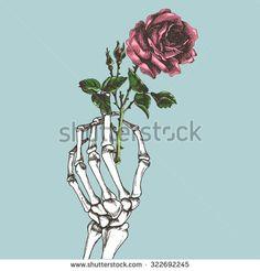 skeleton hand holding flower - Google zoeken