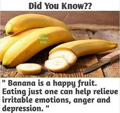 Eating one banana can help relieve irritable emotions, anger & depression. Herbal Remedies, Natural Remedies, Cough Remedies, Anger Depression, Happy Fruit, Fat Burning Soup, Healthy Facts, Healthy Recipes, One Banana