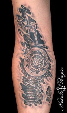 Harley Davidson motorcycle engine parts tattoo. Black and grey.