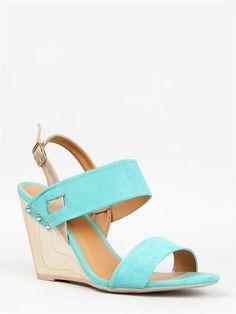 NEW QUPID Women Wide Strap Slingback Wood Wedge Sandal Heel Aqua sz Mint Gipsy14 #Qupid #PlatformsWedges I just ordered these!