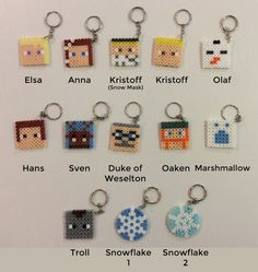 Pick your own set of 10 Frozen themed key chains. They are perfect for hanging on your bag, giving as prizes at parties or in party bags not to mention holding a set of keys. Choose from - Elsa - Anna - Kristoff (snow mask) - Kristoff - Olaf - Hans - Sven - Duke of Weselton - Oaken - Marshmallow - Troll - Snowflake 1 - Snowflake 2  Tell me in the comments when you purchase which ones you would like. All key chains are approx 4cm square. Due to the hand made nature of these items there may…