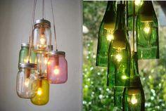 DIY i reciclatge: làmpada feta amb pots de vidre, un article de @SeseJoverInteriors #DIY #Reciclatge #Reciclaje #DoItYourself #lampara #decoracion #decoracio #botella