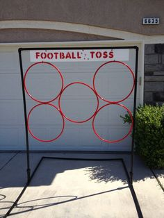 Make with string and hula-hoop and tie from trees Football Toss school carnival game. Frame made out of pvc pipe and the rings are hoola hoops zip tied to frame. The kids loved it! School Carnival Games, Carnival Booths, Carnival Birthday Parties, Carnival Ideas, Church Carnival Games, Diy Carnival Games, Camp Carnival, Carnival Activities, Birthday Games