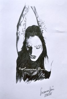 Portrait of - Marilyn Manson by Susanna Varis pencil sketch 2008