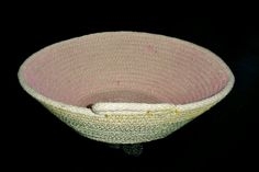 Green Yellow and Pink Cotton Rope Basket, Rope Bowl, Rope Basket by PearlsHomespun on Etsy
