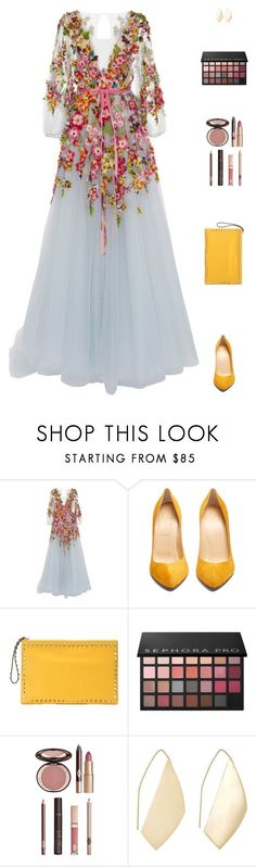 """Sin título #5014"" by mdmsb on Polyvore featuring moda, Monique Lhuillier, Christian Louboutin, Valentino, Sephora Collection, Charlotte Tilbury y Ana Khouri"