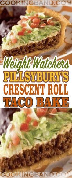 Pillsbury's Crescent Roll Taco Bake - mexican Cuisine Ww Recipes, Low Calorie Recipes, Mexican Food Recipes, Dinner Recipes, Cooking Recipes, Healthy Recipes, Skinny Recipes, Mexican Dishes, Luncheon Recipes