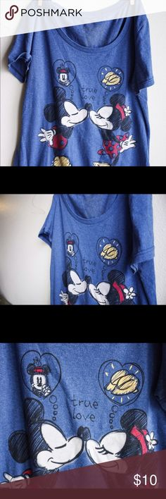 Micky & Minnie Mouse t shirt Blue loose t shirt with Micky and Minnie, it's a large but runs a bit small Disney Tops Tees - Short Sleeve