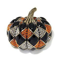 """Heidi Daus """"Harlequin Pumpkin"""" Crystal and Enamel Pin"""