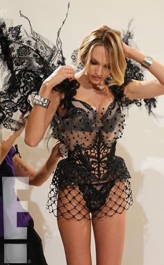 Risqué Mini from Candice Swanepoel's Fitting for the Victoria's Secret Fashion Show  This fishnet mini is fit for the boudoir.