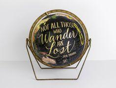 World Globe Black 10.5 inch Painted globe by WildandFreeDesigns, $225.00