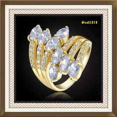 New 3TCW Yellow Gold Filled Ring Sz 8 Gem Type: White Topaz Gem Weight: 3.0 CT Cut: AAA Clear Ring Box: Yes Ring Size: 8 Gem Size: 6 mm*4 mm Metal Type: Yellow Gold Filled  Around Stone: Cz Around Stone Size: 1 mm*1 mm Boutique Jewelry Rings