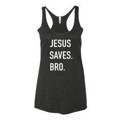 Jesus Saves Bro   Racerback Tank - kôr   - 1