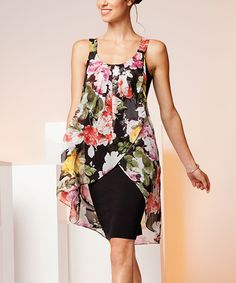 Look what I found on #zulily! Elena Wang Black & Pink Floral Layered Hi-Low Dress by Elena Wang #zulilyfinds