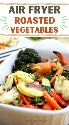 Super easy and delicious air fryer roasted vegetables with a yummy seasoning that can be made super fast for dinner in under 20 minutes! Healthy Side Dishes, Healthy Eating Recipes, Side Dishes Easy, Roasted Vegetable Recipes, Roasted Vegetables, Yellow Squash And Zucchini, Gnocchi, Cooking Time, Entrees