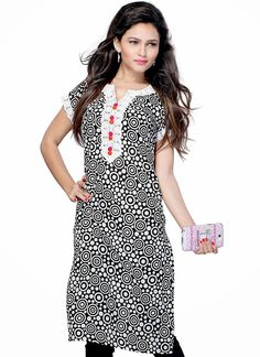Printed Black Cotton Kurti