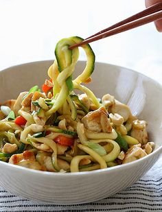 Kung Pao Chicken with Zucchini:  This Low Carb & Low Calorie(Less than 300 Calories) Chicken and Zucchini stir fry has a sauce that combines salty, sweet, sour, and spicy flavors. Topped with crushed peanuts – it's pretty hard to pass this up!  The Zucchini makes a great substitute for noodles.