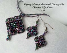 The Sleeping Beauty Pendant and Earrings Tutorial set is an original design created by me. If you like a classic and delicate look with a little sparkle to catch the eye, you will love this Pendant and Earring set. The finished Pendant measures about 2 1/2 long by 1 3/4 wide. The