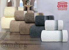 Ręczniki Ombre frotte to produkt polski, wykonany w 100% z bawełny, przyozdobiony piękna bordiurą w delikatne paski, występuje do wyboru w kilku gustownych kolorach.
