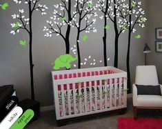 Large birch trees with elephant leaves and flying by StudioQuee, $110.00